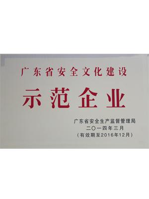 2013年度广东省安全文化建设示范企业